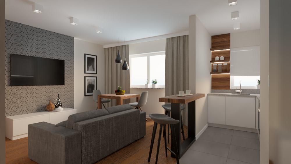 projektanci wnętrz salon z kuchnia na woli 1b Kuchnia salon mieszkanie Wola