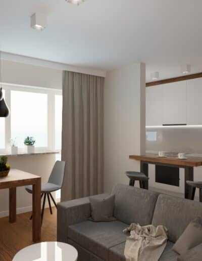 projektanci wnętrz salon z kuchnia na woli 1c Salon kuchnia mieszkanie Wola