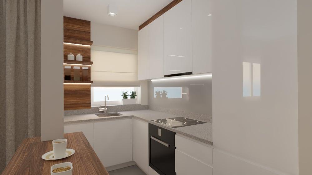 projektanci wnętrz salon z kuchnia na woli 1e Kuchnia salon mieszkanie Wola