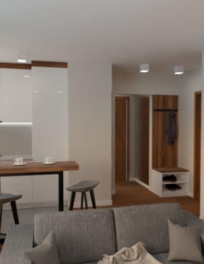 projektanci wnętrz salon z kuchnia na woli 1i Kuchnia salon mieszkanie Wola