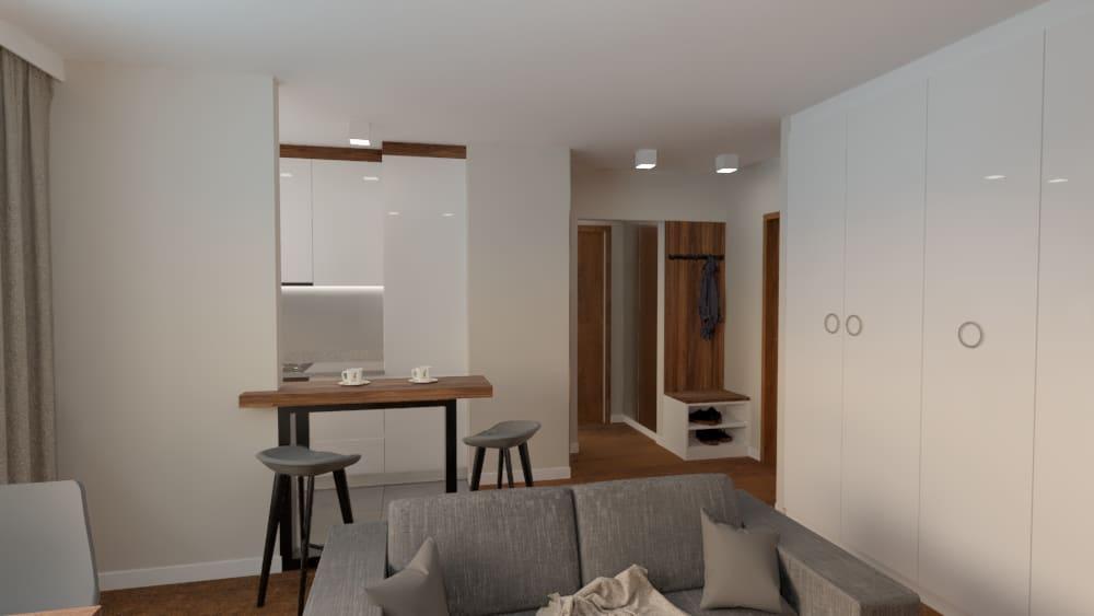 projektanci wnętrz salon z kuchnia na woli 1i Salon kuchnia mieszkanie Wola