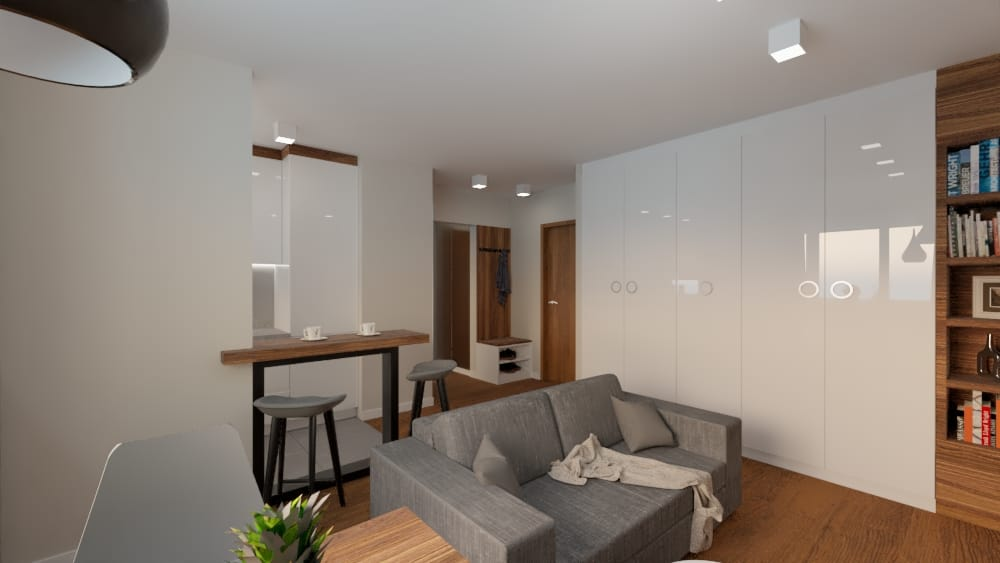projektanci wnętrz salon z kuchnia na woli 1k Salon kuchnia mieszkanie Wola