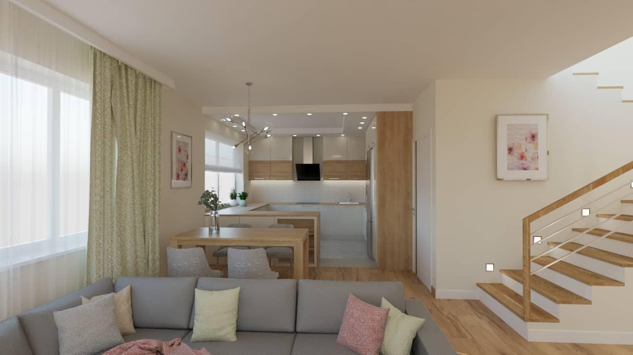 projektanci wnętrz salon z kuchnia oliwkowy 1a Kuchnia otwarta na salon oliwkowy