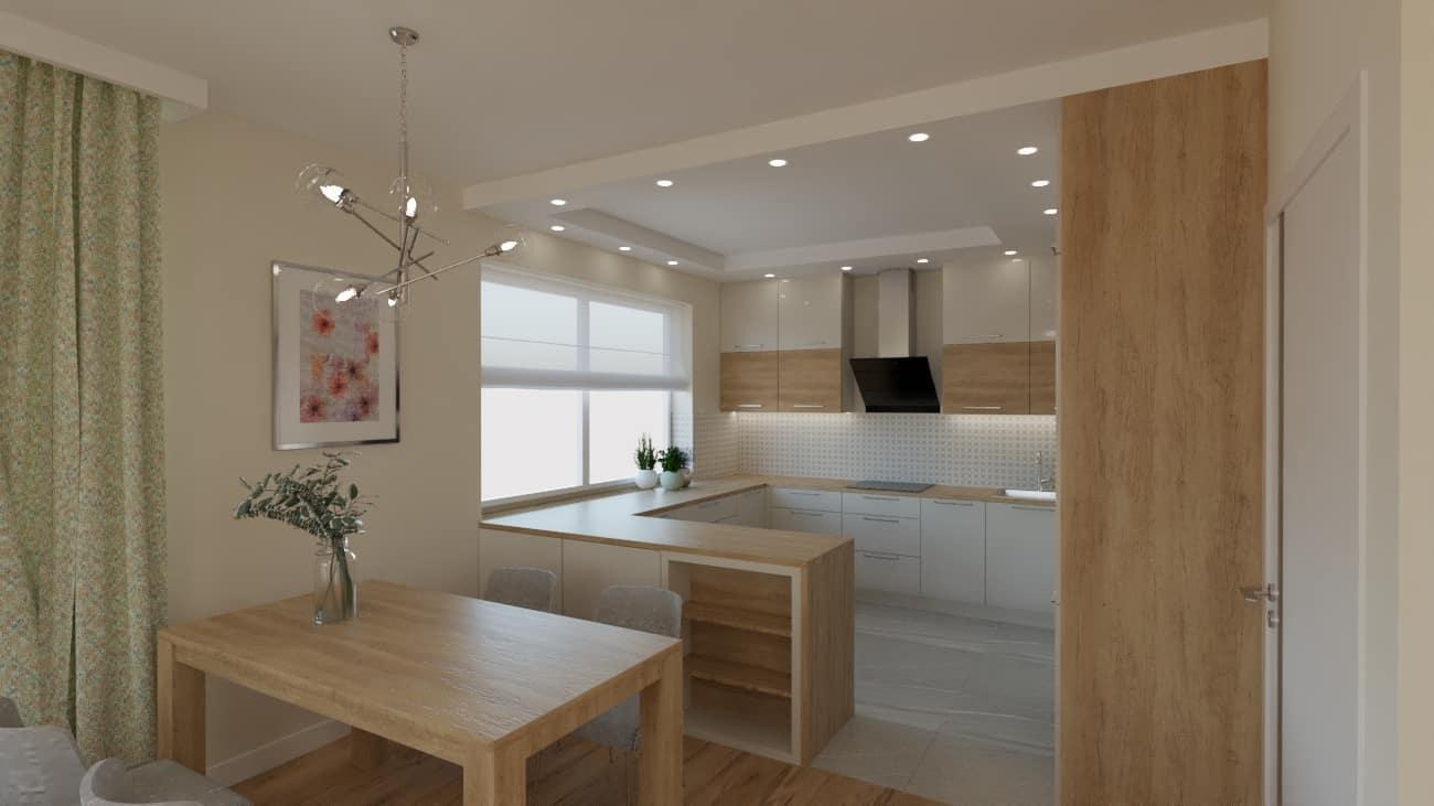 projektanci wnętrz salon z kuchnia oliwkowy 1b Salon oliwkowy z kuchnią