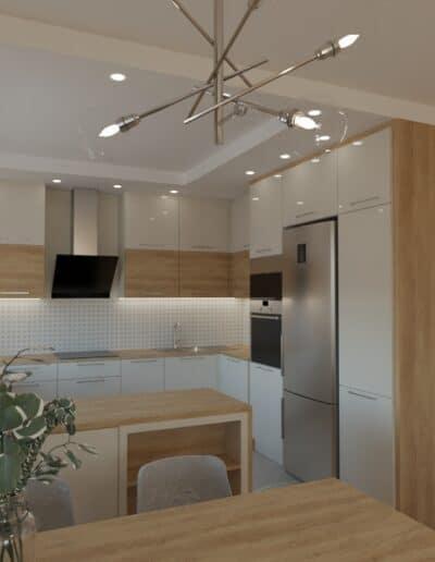 projektanci wnętrz salon z kuchnia oliwkowy 1c Salon oliwkowy z kuchnią