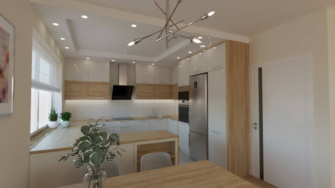 projektanci wnętrz salon z kuchnia oliwkowy 1c Kuchnia otwarta na salon oliwkowy