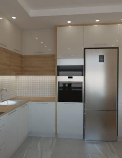 projektanci wnętrz salon z kuchnia oliwkowy 1d Salon oliwkowy z kuchnią