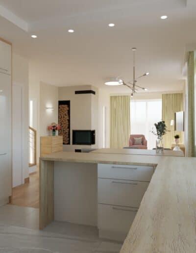 projektanci wnętrz salon z kuchnia oliwkowy 1f Salon oliwkowy z kuchnią