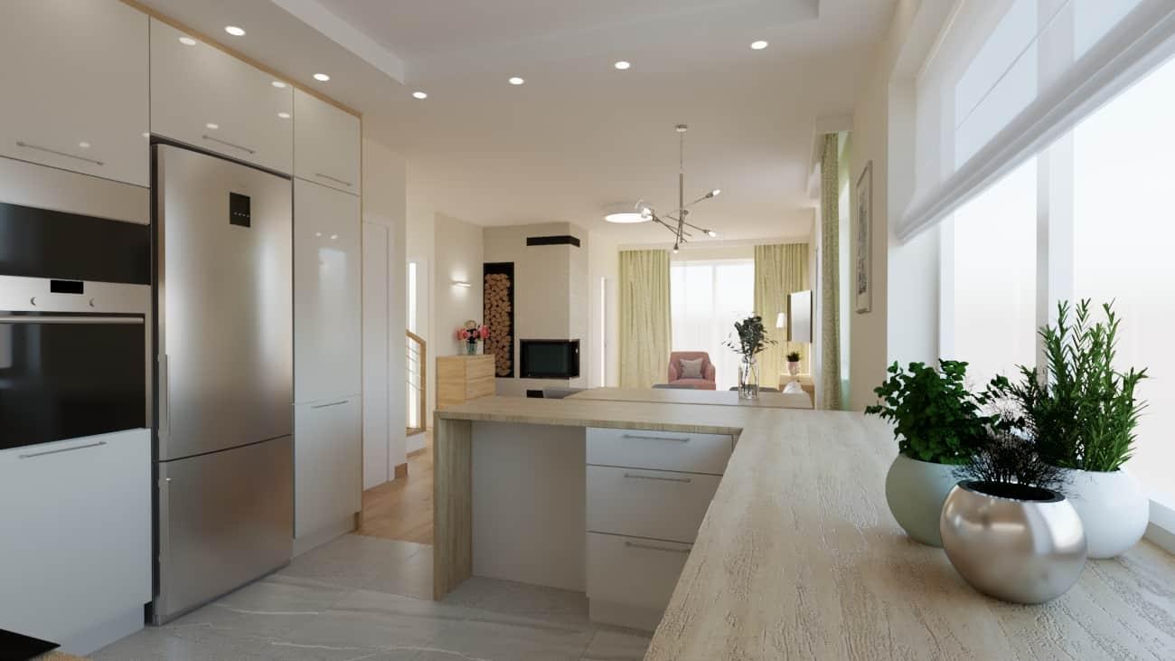 projektanci wnętrz salon z kuchnia oliwkowy 1f Kuchnia otwarta na salon oliwkowy