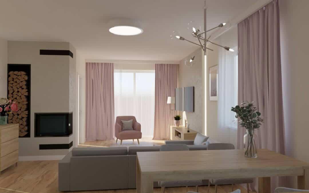 Salon z różowym akcentem otwarty na kuchnię