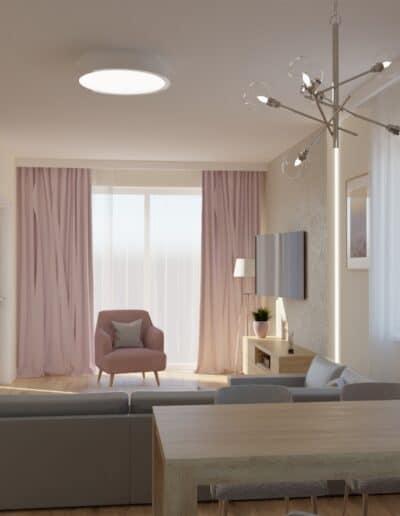 projektanci wnętrz salon z kuchnia rozowy 1a Kuchnia otwarta na salon z różowym akcentem