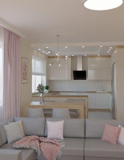 projektanci wnętrz salon z kuchnia rozowy 1c Kuchnia otwarta na salon z różowym akcentem