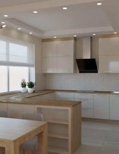 projektanci wnętrz salon z kuchnia rozowy 1d Kuchnia otwarta na salon z różowym akcentem