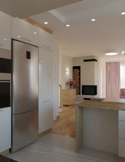projektanci wnętrz salon z kuchnia rozowy 1f Kuchnia otwarta na salon z różowym akcentem
