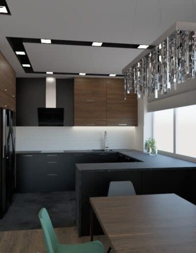 projektanci wnętrz salon z kuchnia schody 1a Elegancka kuchnia otwarta na salon