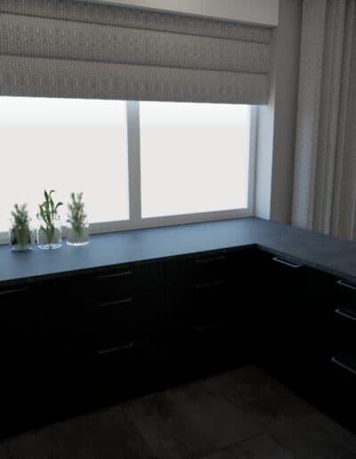 projektanci wnętrz salon z kuchnia schody 1c Elegancka kuchnia otwarta na salon