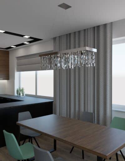 projektanci wnętrz salon z kuchnia schody 1d Elegancka kuchnia otwarta na salon