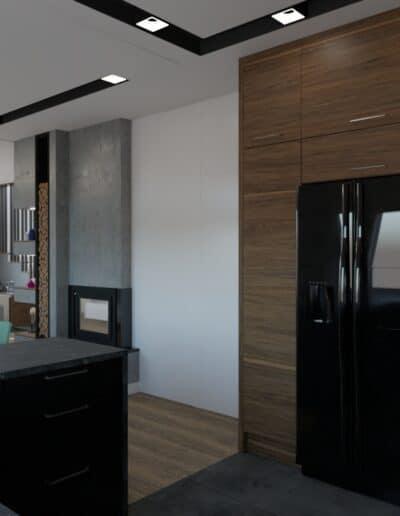 projektanci wnętrz salon z kuchnia schody 1f Elegancka kuchnia otwarta na salon