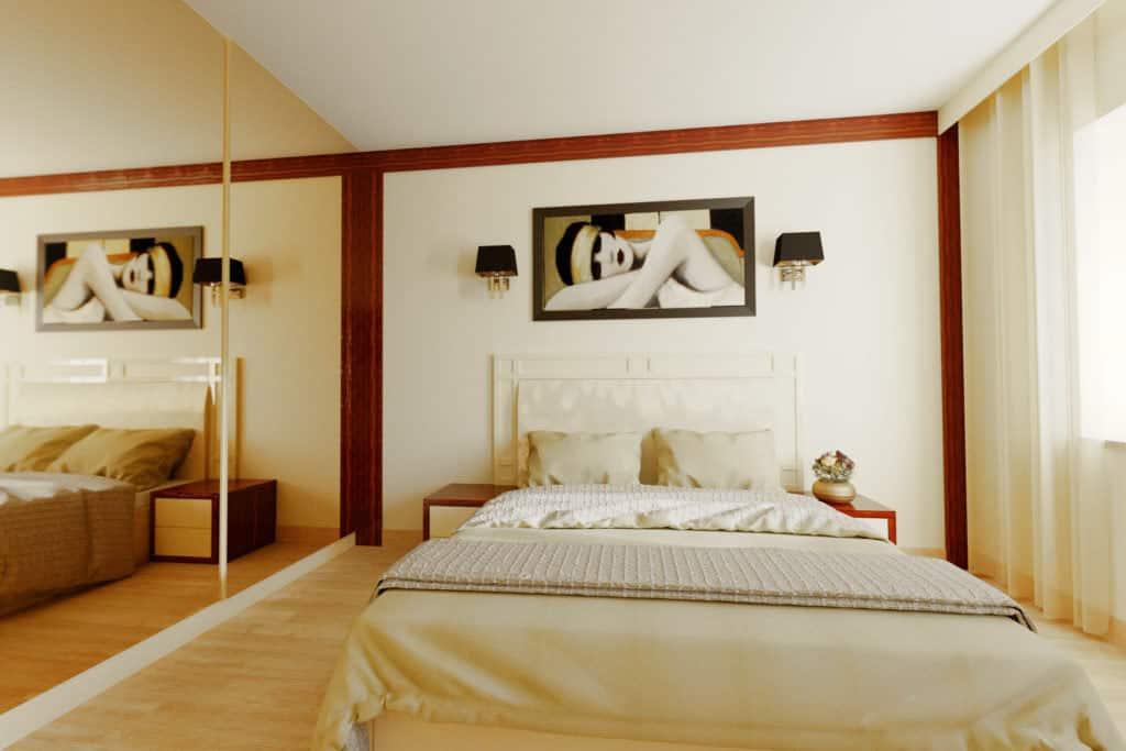projektanci wnętrz sypialnia A002 Sypialnia kremowa