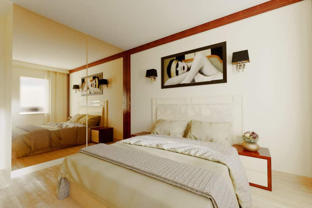 projektanci wnętrz sypialnia A003 Sypialnia kremowa