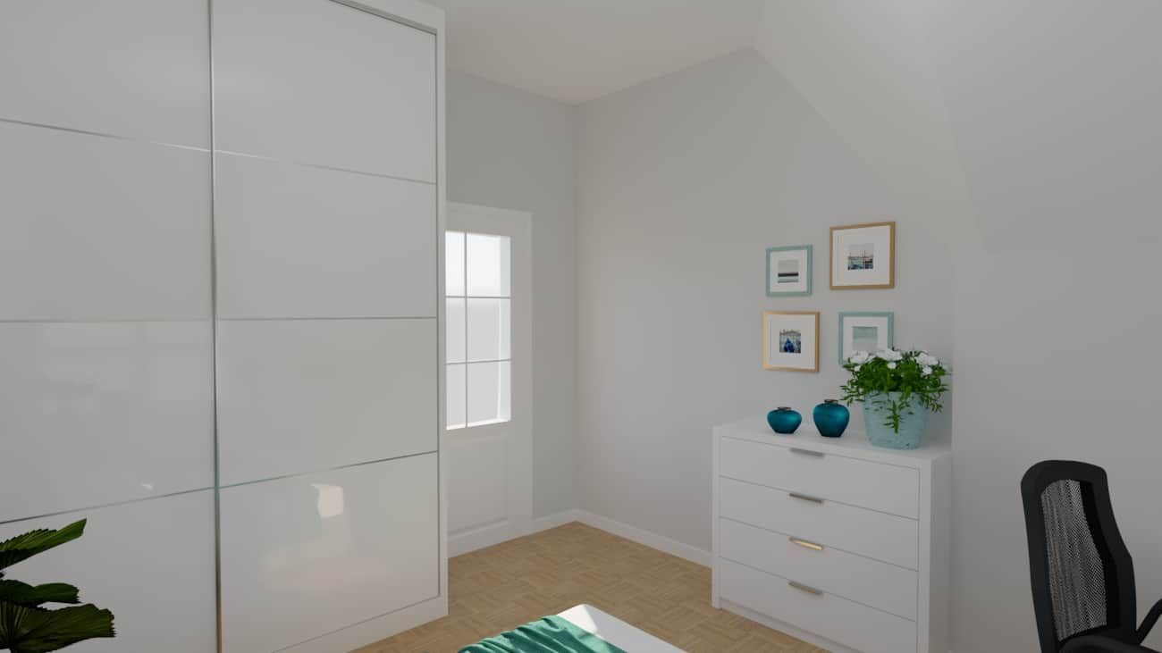 projektanci wnętrz sypialnia biala z szafa 1c SYPIALNIA biała z szafą