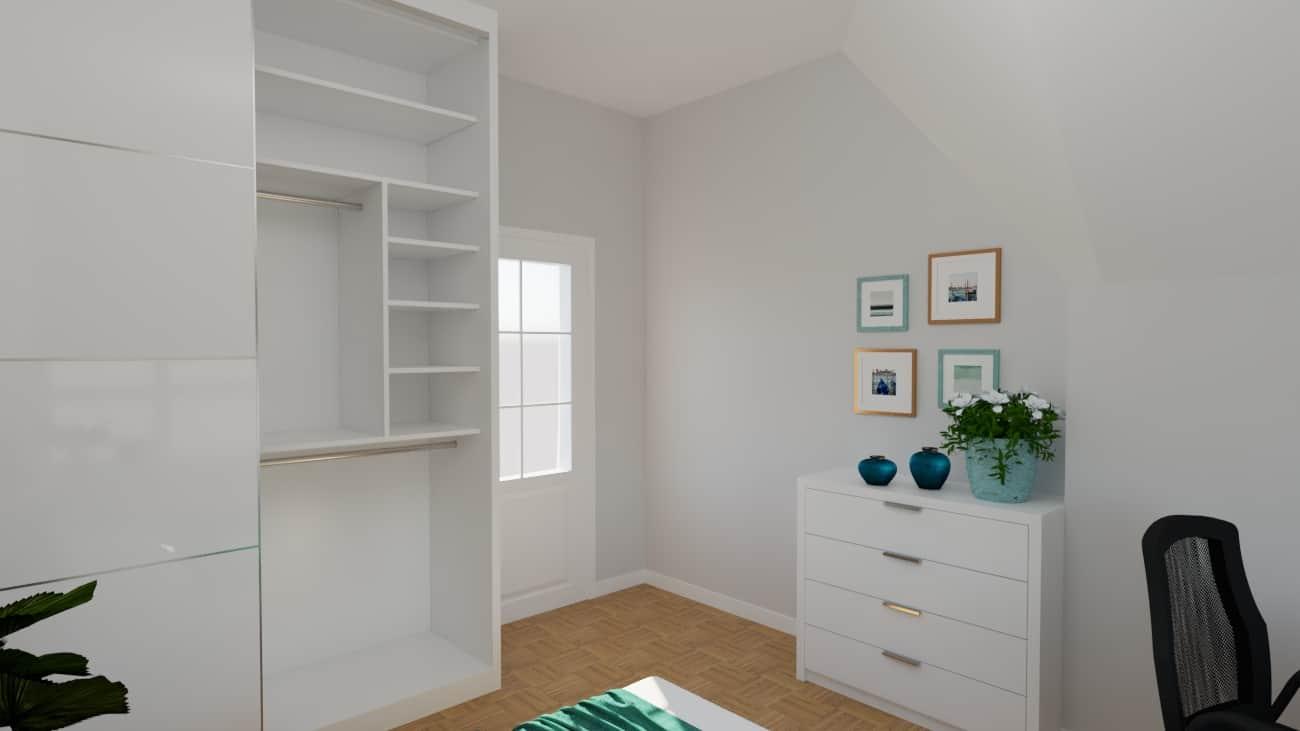 projektanci wnętrz sypialnia biala z szafa 1d SYPIALNIA biała z szafą