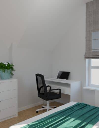 projektanci wnętrz sypialnia biala z szafa 1e SYPIALNIA biała z szafą