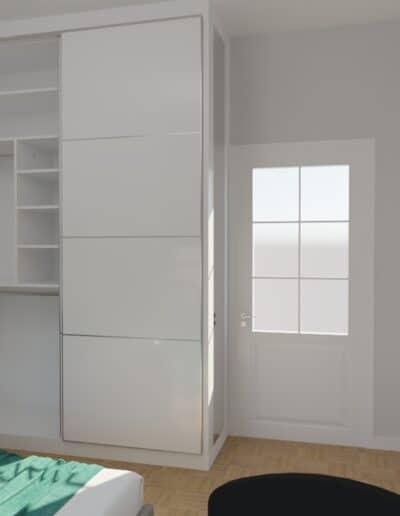 projektanci wnętrz sypialnia biala z szafa 1f SYPIALNIA biała z szafą