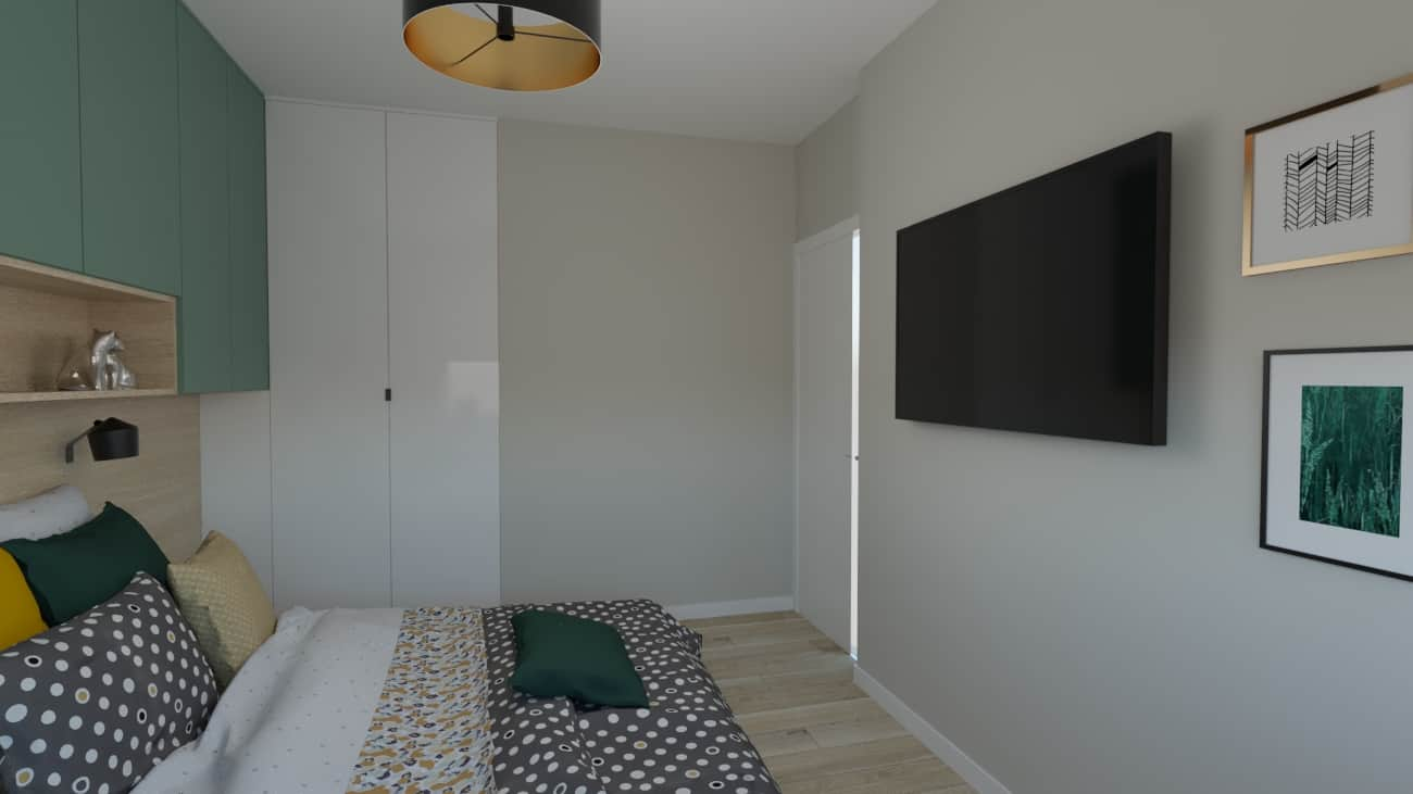 projektanci wnętrz sypialnia bialo zielona 1a Sypialnia biało-zielona