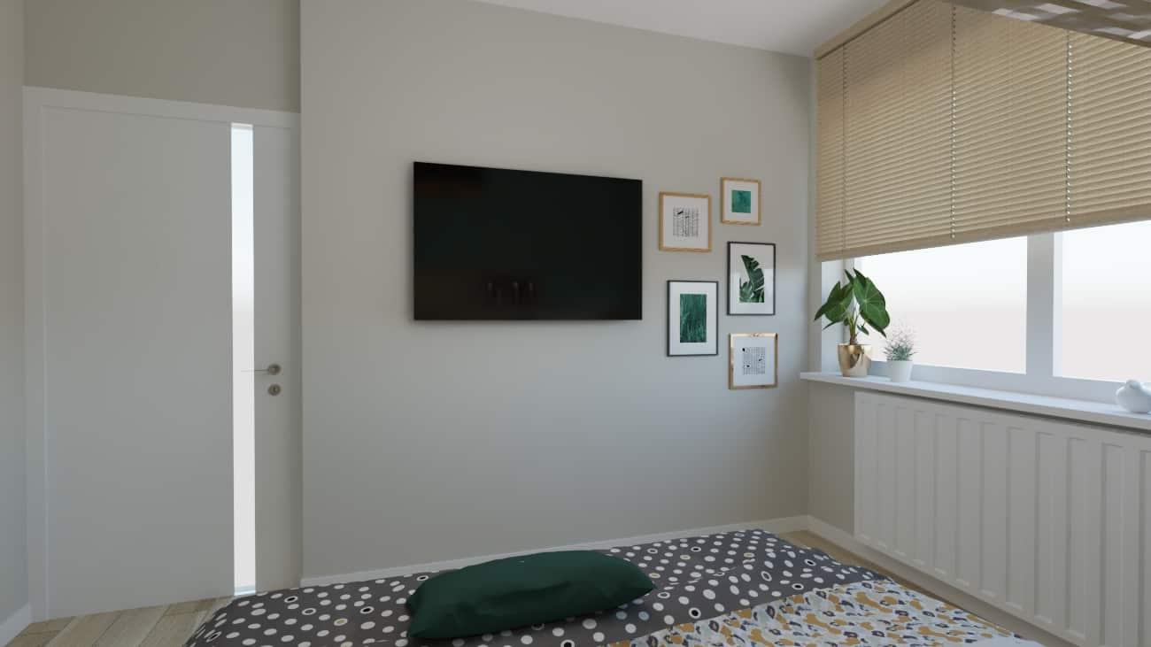 projektanci wnętrz sypialnia bialo zielona 1b Sypialnia biało-zielona