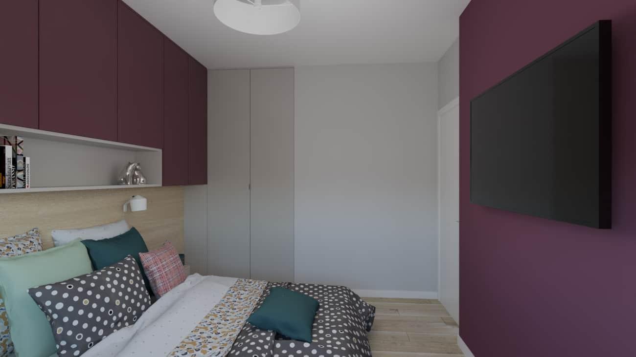 projektanci wnętrz sypialnia bordowa 1b Sypialnia bordowa