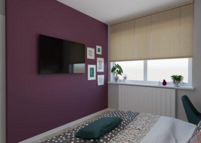 Sypialnia bordowa