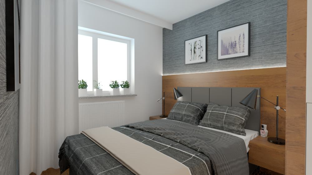 projektanci wnętrz sypialnia mieszkanie wola 1d Aranżacja sypialni na Woli