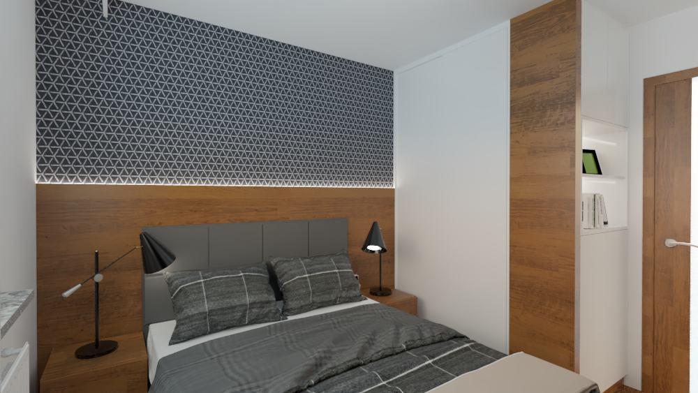 projektanci wnętrz sypialnia mieszkanie wola 1e Sypialnia mieszkanie Wola