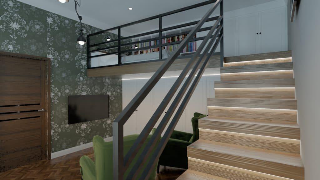 projektanci wnętrz sypialnia na antresoli 1d Sypialnia na antresoli