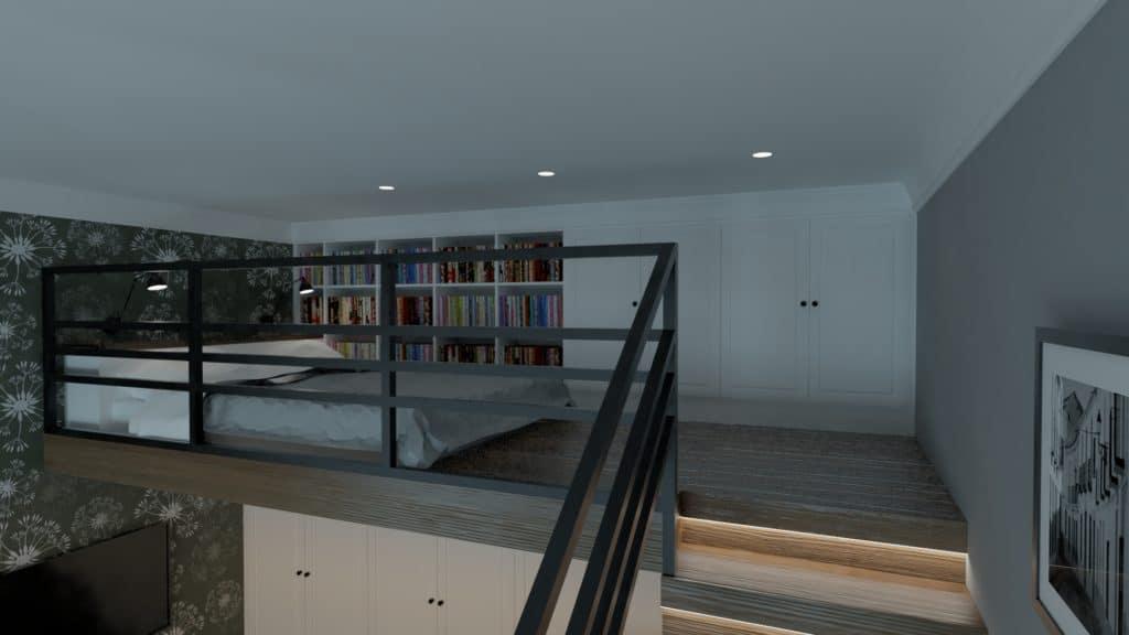 projektanci wnętrz sypialnia na antresoli 1e Sypialnia na antresoli