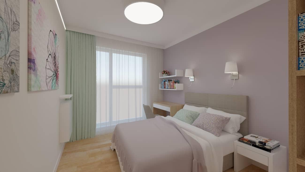 projektanci wnętrz sypialnia rozowa z obrazami 1a Sypialnia różowa z obrazkami