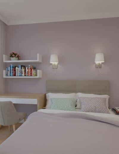 projektanci wnętrz sypialnia rozowa z obrazami 1b Sypialnia różowa z obrazkami