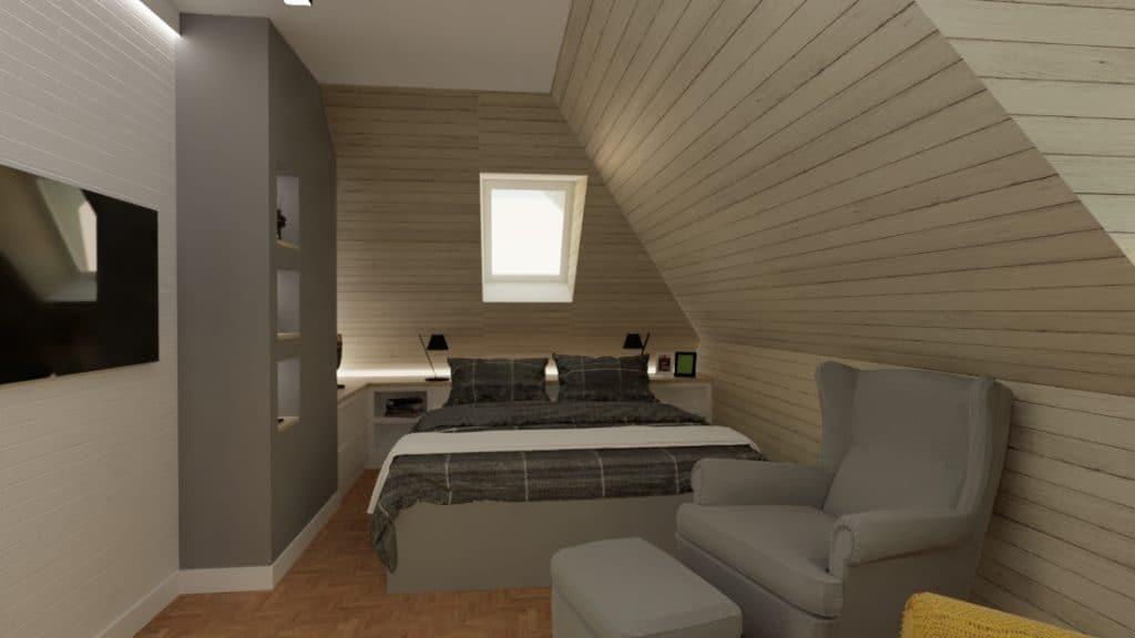 projektanci wnętrz sypialnia w nadarzynie 1b Sypialnia z lustrem Nadarzyn