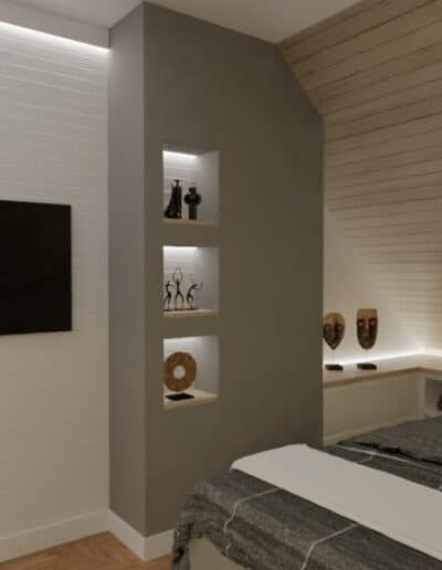 projektanci wnętrz sypialnia w nadarzynie 1c Sypialnia z lustrem Nadarzyn