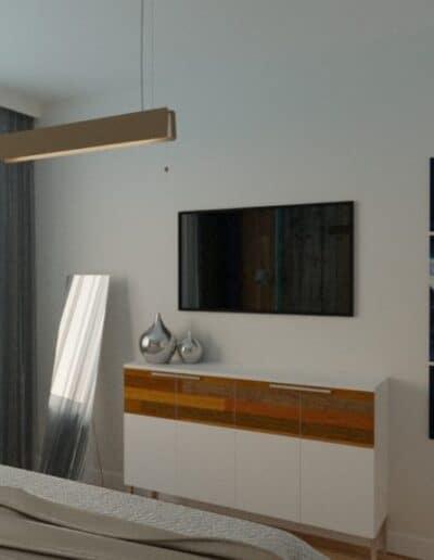 projektanci wnętrz sypialnia z elementami drewna 1a Sypialnia z elementami drewna
