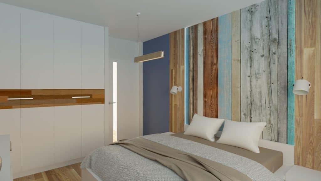 projektanci wnętrz sypialnia z elementami drewna 1c Sypialnia z elementami drewna