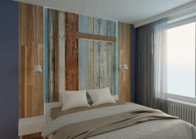 Sypialnia zelementami drewna