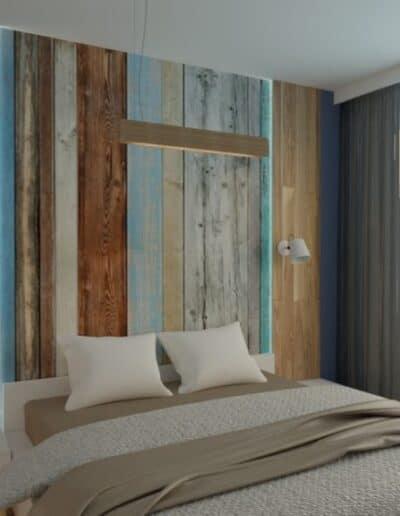 projektanci wnętrz sypialnia z elementami drewna 2b Sypialnia z elementami drewna