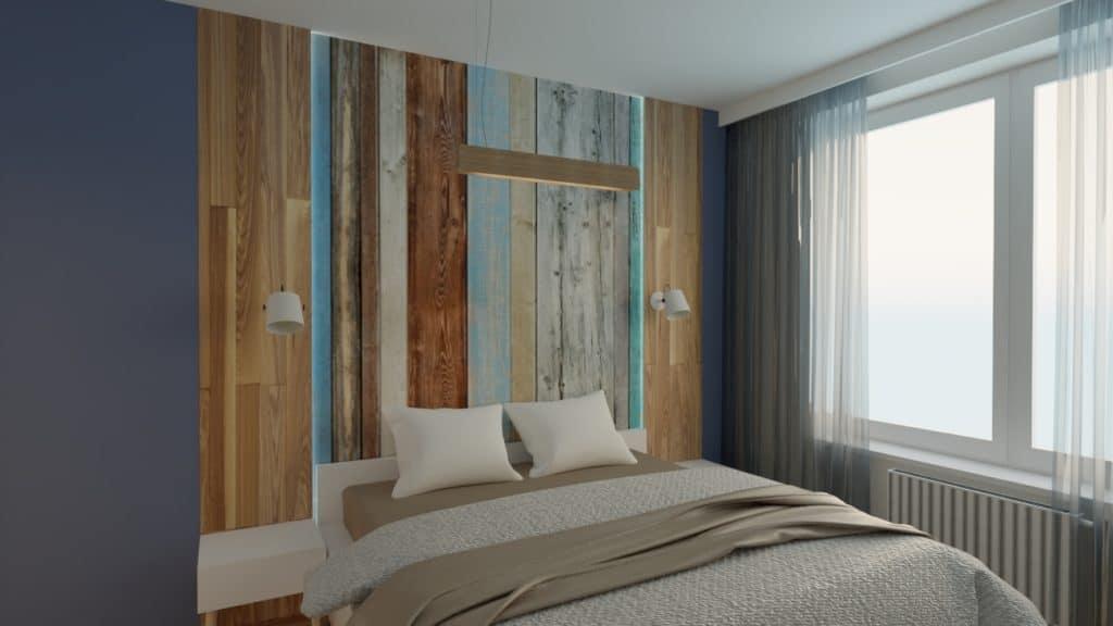 Sypialnia z elementami drewna