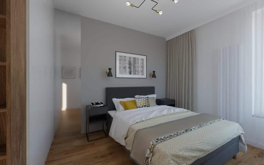 Sypialnia z szarymi zasłonami