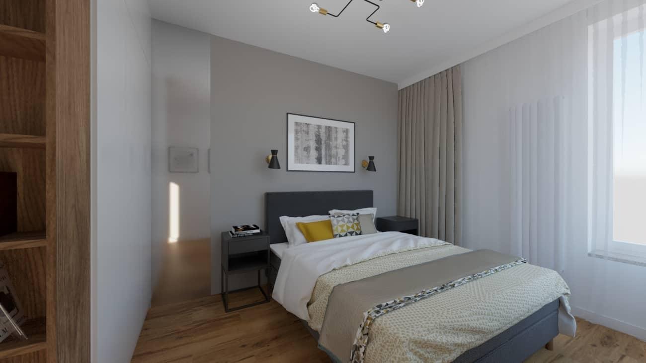 Sypialnia zszarymi zasłonami