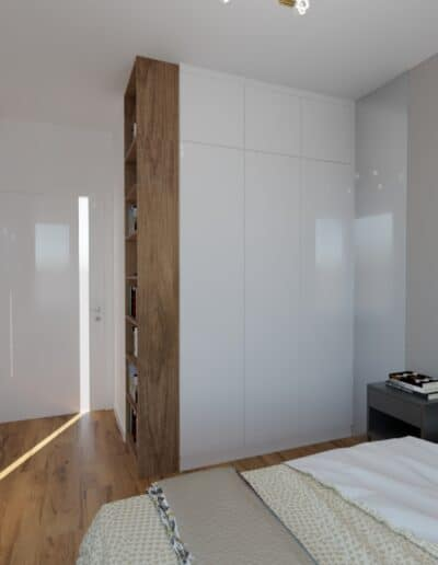 projektanci wnętrz sypialnia z szarymi zaslonami 1c Sypialnia z szarymi zasłonami