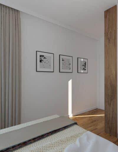 projektanci wnętrz sypialnia z szarymi zaslonami 1d Sypialnia z szarymi zasłonami
