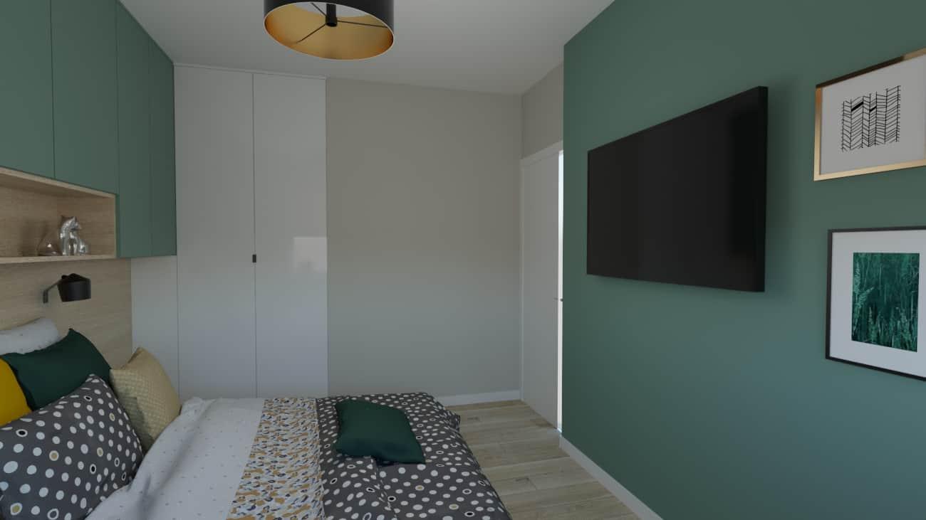 projektanci wnętrz sypialnia zielona 1a Sypialnia zielona